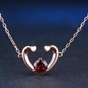 ❤️ Natural Red Garnet & Silver Necklace 124001350